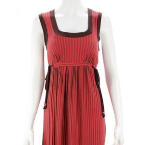 ELLA MOSS RED & BROWN STRIPED DRESS SIZE S